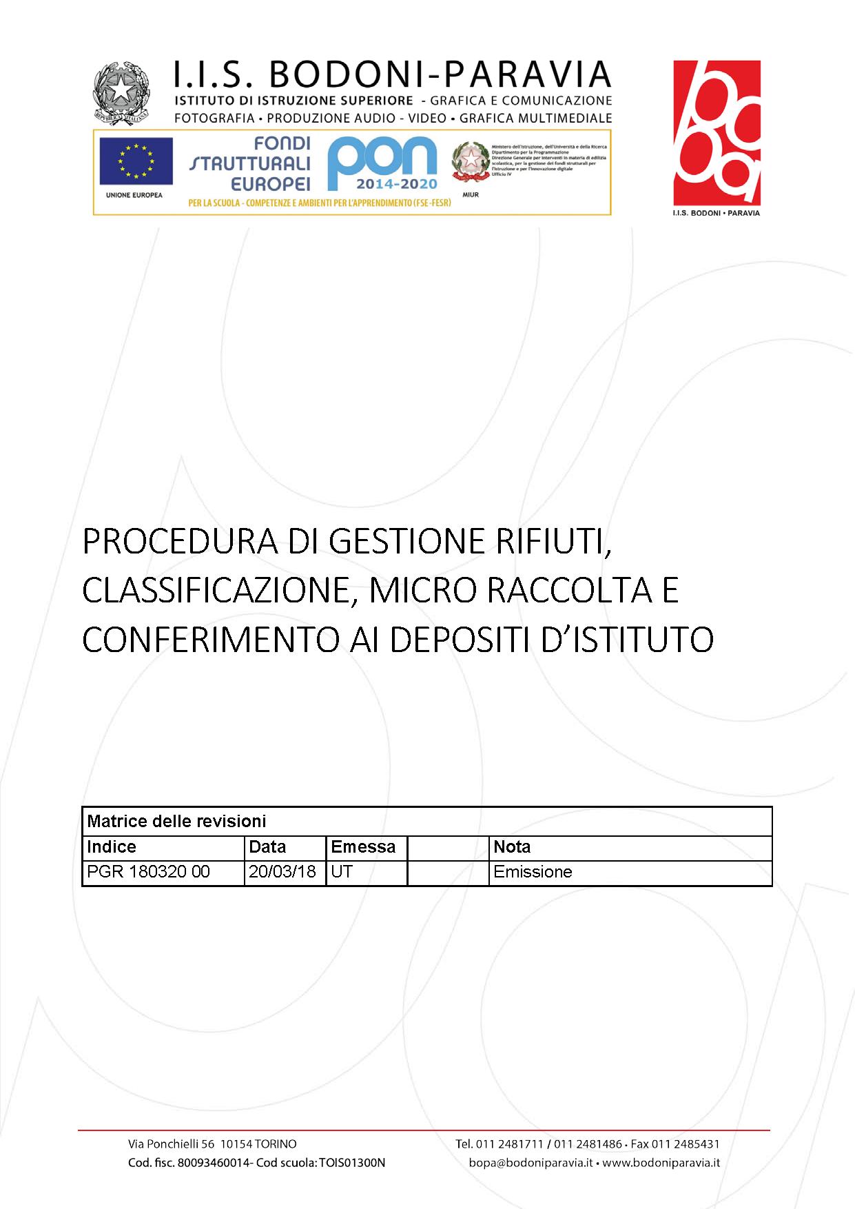180320 00 Procedura gestione rifiuti